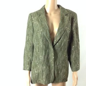 Escada Women's Blazer Jacket Sequined Olive Sz 42
